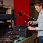 Eric from ILE shows off a custom camera bag made specially for MashSF