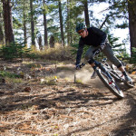 Getting a bit loose in a drifty turn on Tahoe's Rim Trail.